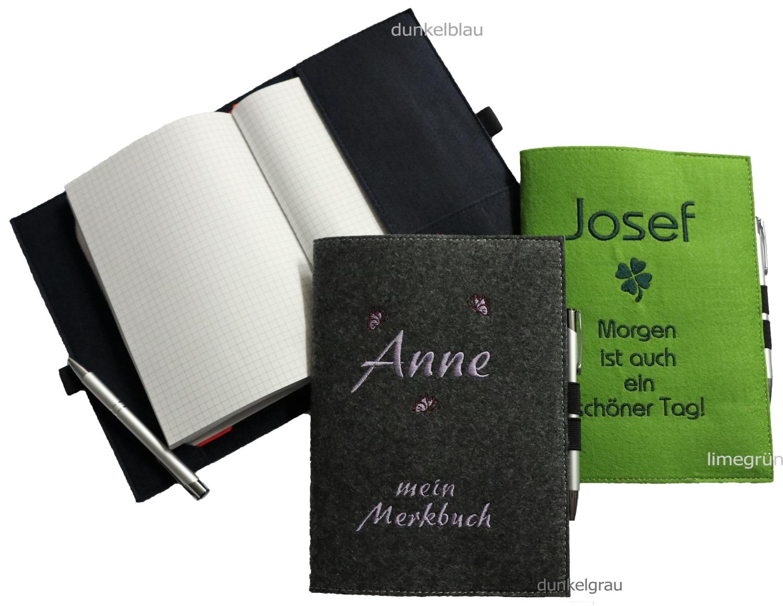gio shop filzumschlag buchumschlag bucheinband notizbuch a5 mit namen. Black Bedroom Furniture Sets. Home Design Ideas