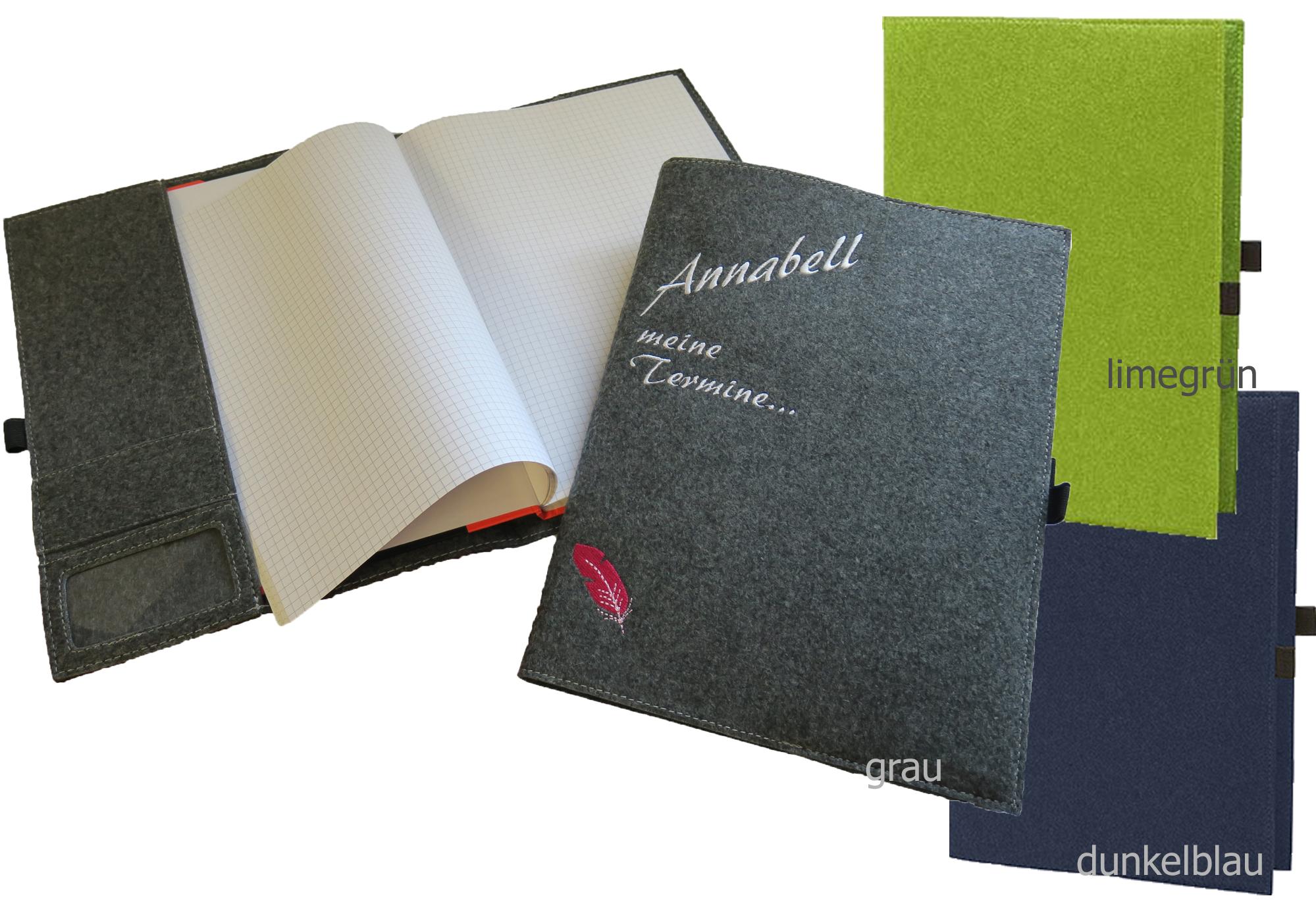 gio shop filz einband mit notizbuch a4 mit namen. Black Bedroom Furniture Sets. Home Design Ideas