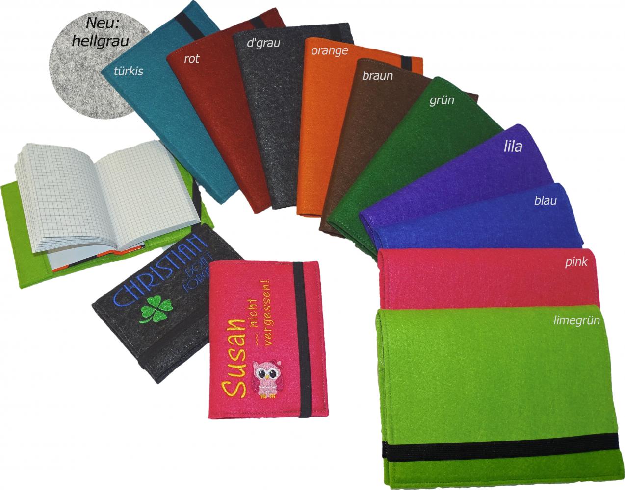 gio shop wollfilz filzumschlag buchumschlag bucheinband notizbuch a6 mit namen. Black Bedroom Furniture Sets. Home Design Ideas